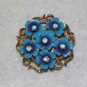 Vintage Avon Flower Blue Enamel Brooch